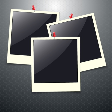 Photo frames with push pins Stock Vector - 15516146