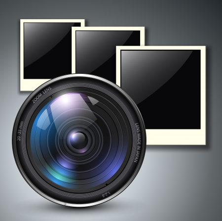 Lens with photo frames Vector