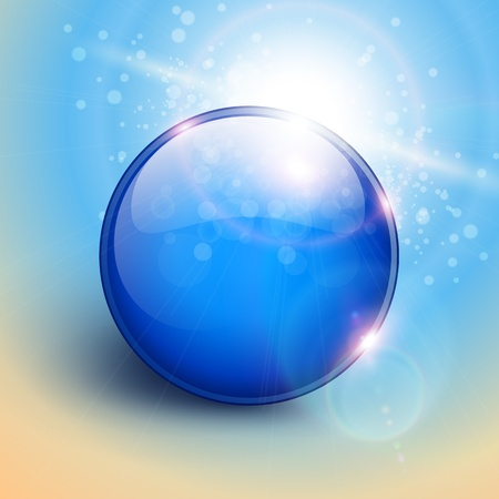 Vector blue shiny sphere background. Vector