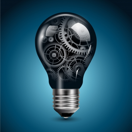 công nghệ: Bóng đèn ánh sáng với bánh răng bên trong, vector.