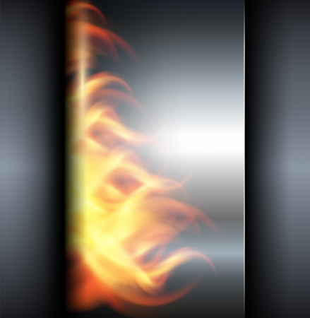 hard alloy: Metallic background with vector fire flames.
