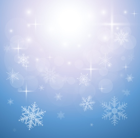 Winter christmas background blue with snowflakes, vector. Stock Vector - 15553720