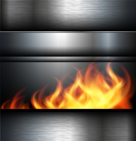 ironworks: Abstract background metallic with fire flames.