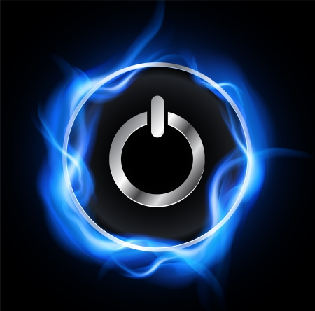 high technology: Power button and high voltage energy