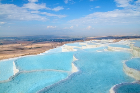 pamuk:  Natural travertine pools and terraces, Pamukkale, Turkey Stock Photo
