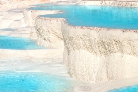 known:  Natural travertine pools and terraces, Pamukkale, Turkey Stock Photo
