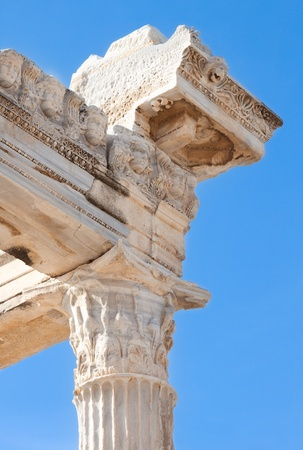 greek gods: Details of ancient Apollo temple ruins.