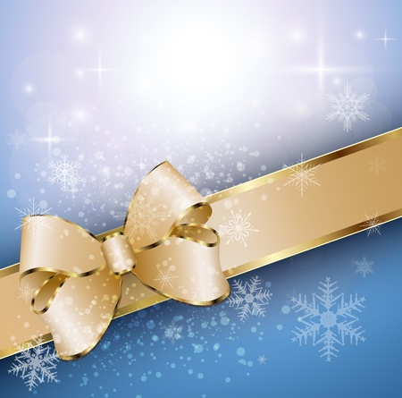 Abstract christmas background with banner, snowflakes and a bow, vector Stock Vector - 16220565