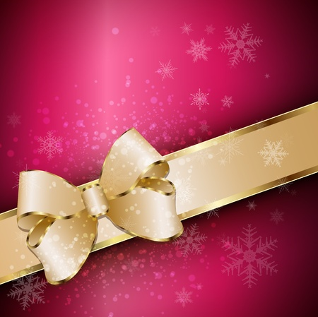 Abstract christmas background with banner, snowflakes and a bow, vector  Vector