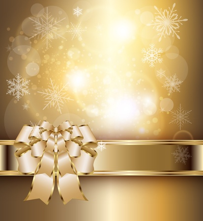 Abstract background with elegant gold banner and a bow, vector  Illustration