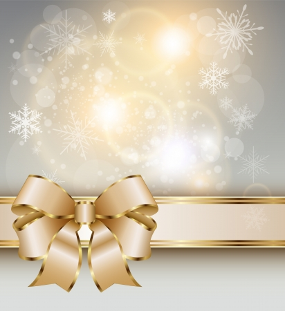 Abstract christmas background with elegant gold banner, snowflakes and a bow, vector  Vector