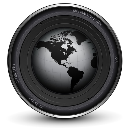 optical image: Camera photo lens with earth globe inside  Illustration