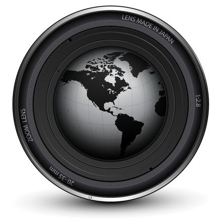 při pohledu na fotoaparát: Fotoaparát foto objektiv s zemi zeměkoule uvnitř Ilustrace
