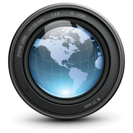 Lente de la cámara de fotos con globo de tierra en el interior de Ilustración de vector