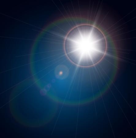 lens flare: Vector star, sun with lens flare. Illustration