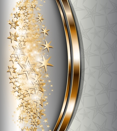 Abstract background with gold stars, for Christmas and New Year design, vector. Stock Vector - 16400111
