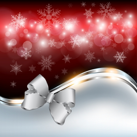 Abstract christmas background with snowflakes and a bow Stock Vector - 16464867