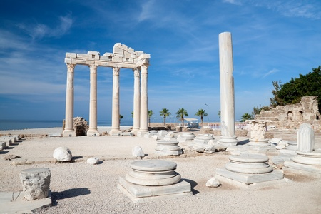 sea side: Temple of Apollo ancient ruins in Side Turkey. Stock Photo