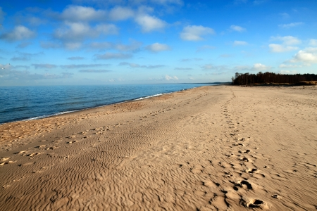 baltic: Sandy beach at the southern coast of the Baltic Sea, Poland. Stock Photo