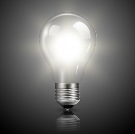 Light bulb illuminated, realistic  illustration.
