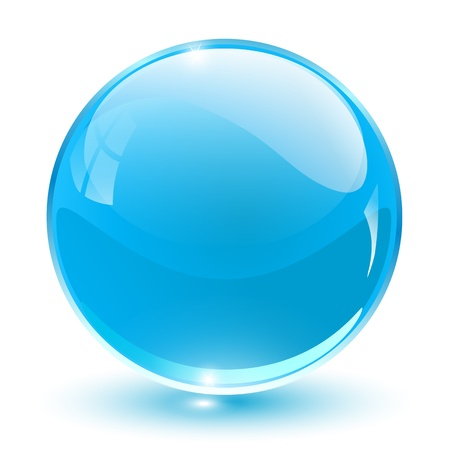 sphere icon: 3D crystal sphere blue,  illustration.