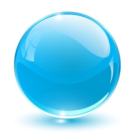 Cristal 3D esfera azul, ilustración.