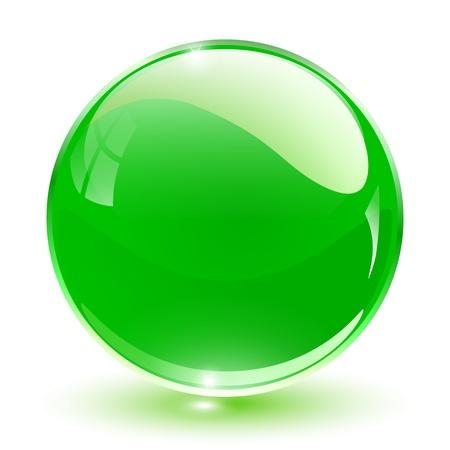 3D cristal esfera verde, ilustración.