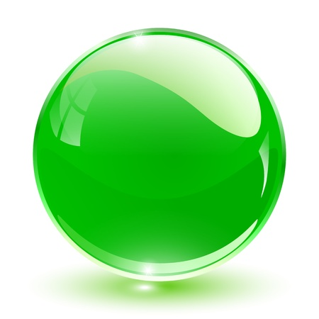sphere icon: 3D crystal sphere green,  illustration.