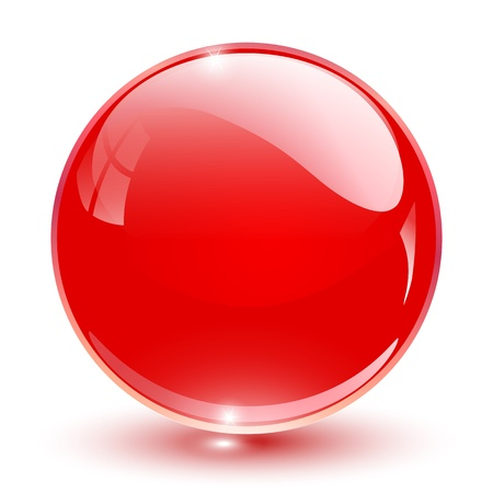 button: 3D crystal sphere red,  illustration.