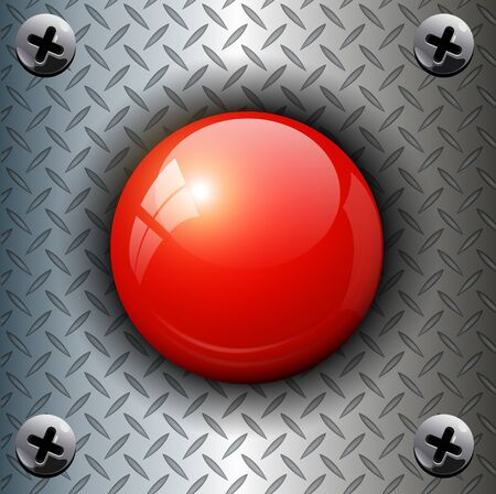 diamond plate: Red alarm shiny button background, .