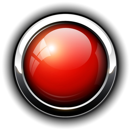 Red shiny button, design. Vector