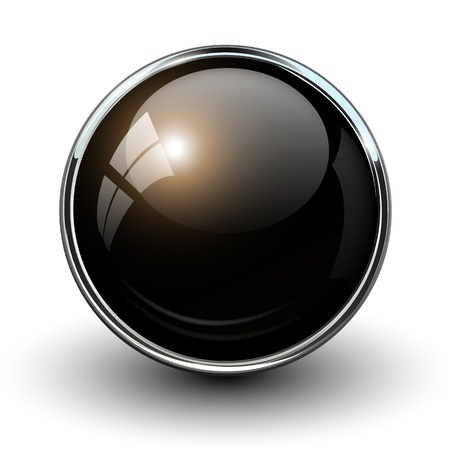button: Black shiny button with metallic elements, vector design for website.