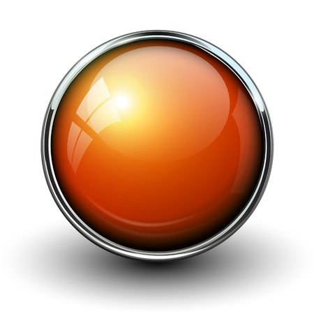 Orange shiny button with metallic elements, vector design for website.