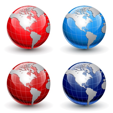 world globe map: Earth globes, world glossy detailed vector illustration.