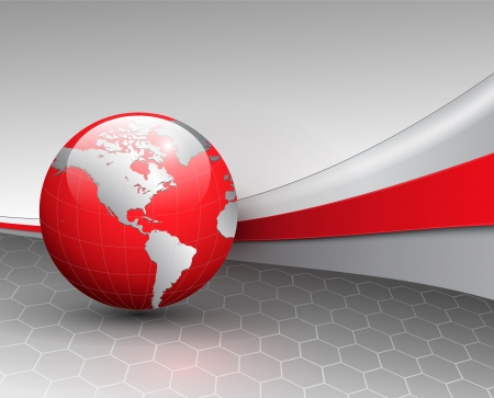 red line: Business background, grey with red world globe, vector. Illustration