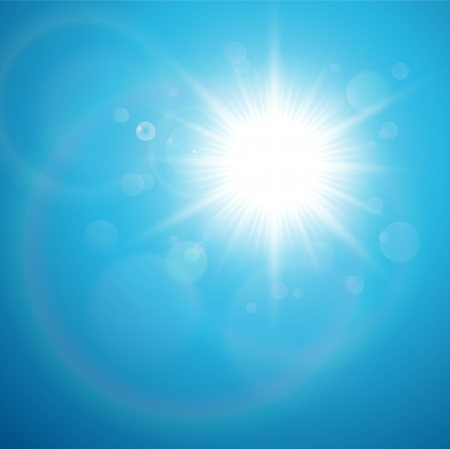 Sun with lens flare, vector background. Stock Vector - 16798265