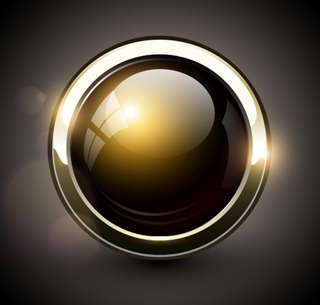 Elegant shiny button with metallic elements, vector design.