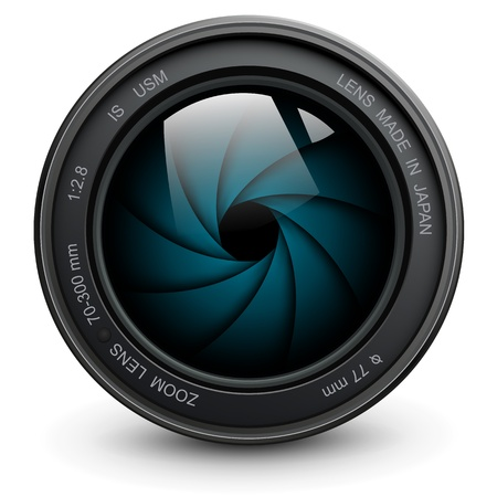 macro film: camera photo lens with shutter.