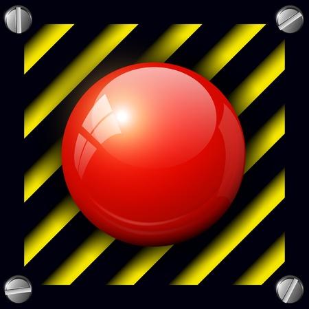 Red alarm button background, vector. Stock Vector - 17105976