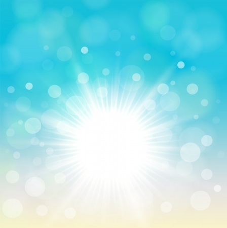 Natural blue background with vector sun. Stock Vector - 17105985