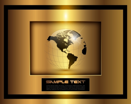 golden globe: Business background, elegant gold with world globe, vector.