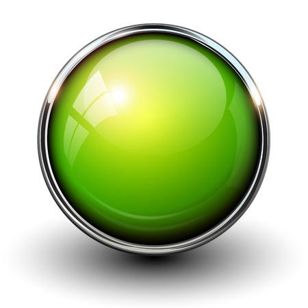 Green shiny button with metallic elements, vector design for website. Illustration