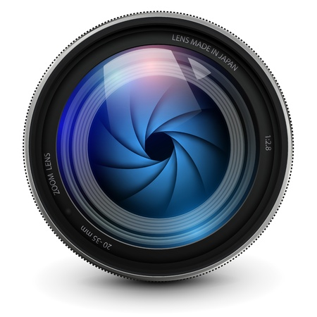 cámara de fotos con lente obturador. Ilustración de vector