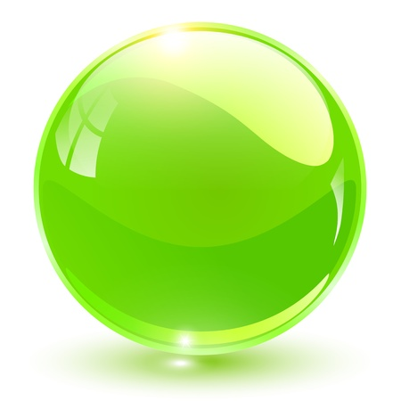 3D crystal sphere green, vector illustration. Vector