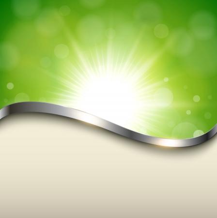 natur: Natürlichen grünen Hintergrund mit metallischen Welle, Vektor. Illustration