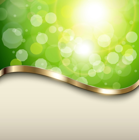 Natural green background with metallic wave, vector. Stock Vector - 17191566