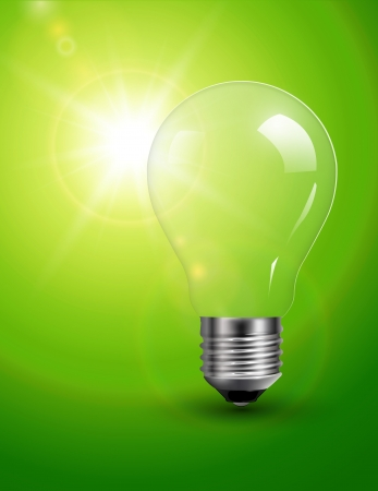 Light bulb on green, sunny background Vector