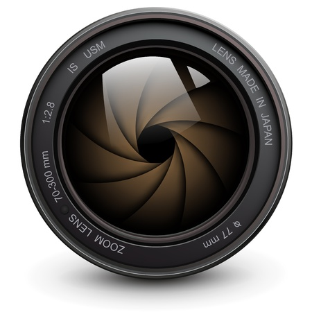 telephoto: camera photo lens with shutter.
