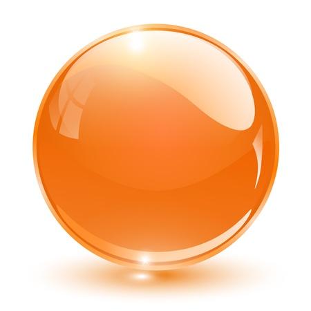 esfera: 3D cristal esfera laranja, ilustra