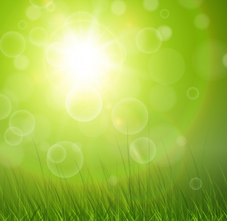 Natural green background with sun and grass. Vector
